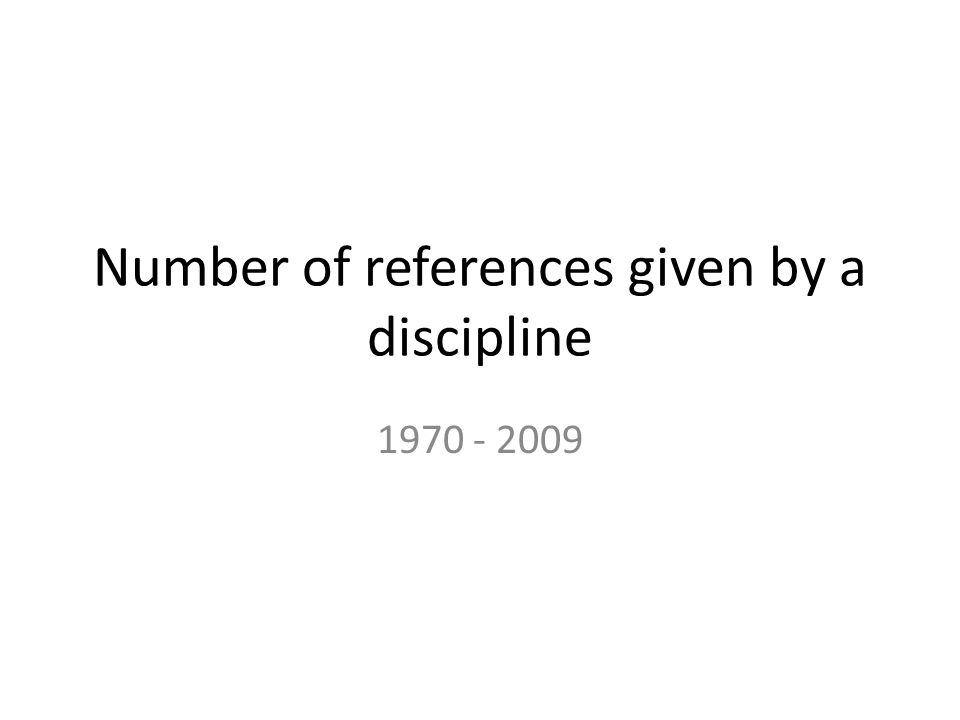Number of references given by a discipline 1970 - 2009
