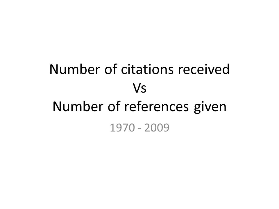 Number of citations received Vs Number of references given 1970 - 2009