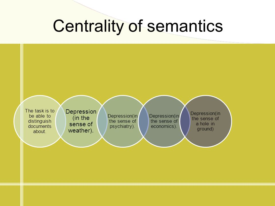 Centrality of semantics The task is to be able to distinguish documents about. Depression (in the sense of weather). Depression(in the sense of psychi