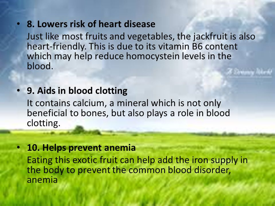 8. Lowers risk of heart disease Just like most fruits and vegetables, the jackfruit is also heart-friendly. This is due to its vitamin B6 content whic
