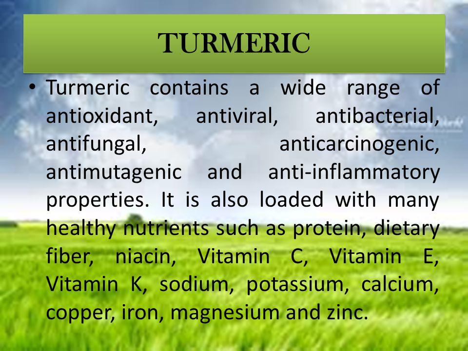 TURMERIC Turmeric contains a wide range of antioxidant, antiviral, antibacterial, antifungal, anticarcinogenic, antimutagenic and anti-inflammatory pr