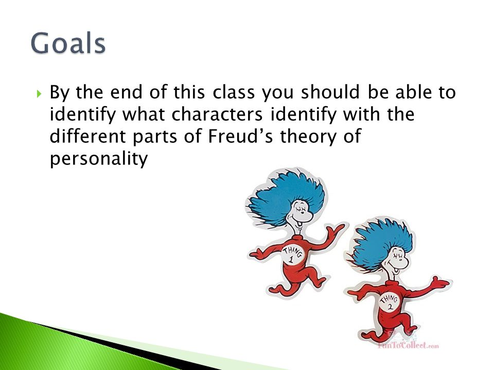 By the end of this class you should be able to identify what characters identify with the different parts of Freud's theory of personality