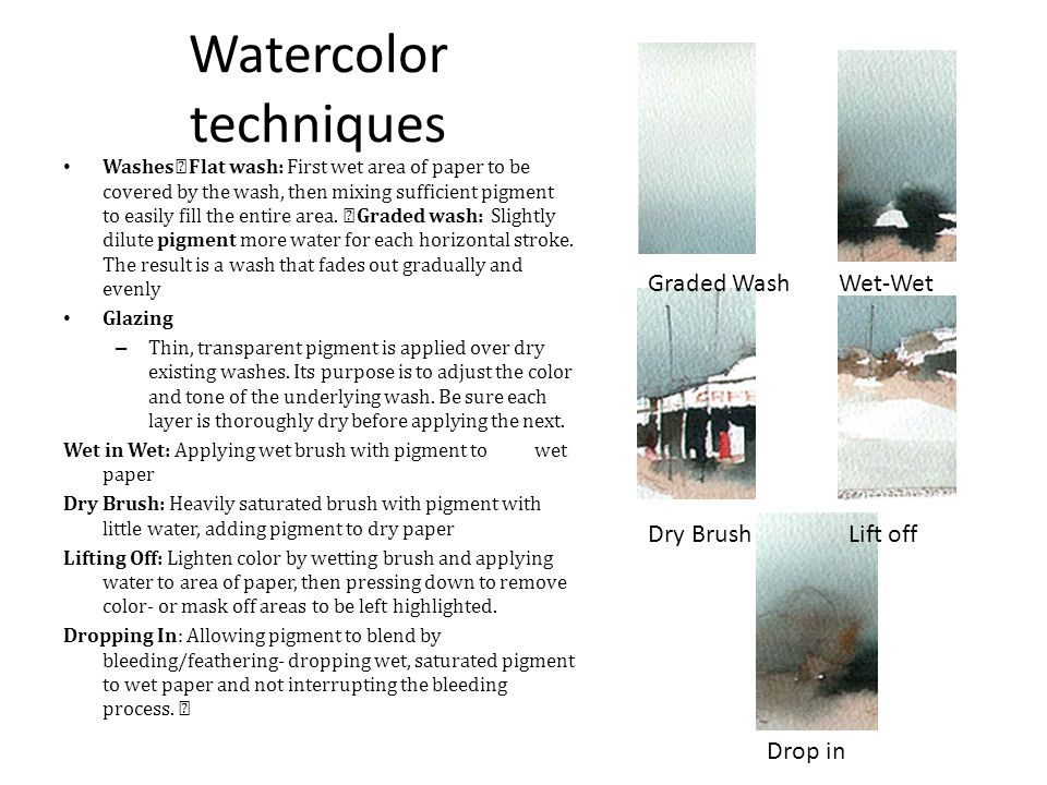 Experimental watercolor techniques Paint on wet paper Lift off wet color Use a palette knife and scrape away Apply salt, sand or starch Press an object onto wet paper like a leaf, doily, string Splatter Block out areas and make them glossy by using gloss medium first.
