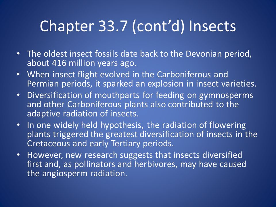 Chapter 33.7 (cont'd) Insects The oldest insect fossils date back to the Devonian period, about 416 million years ago.