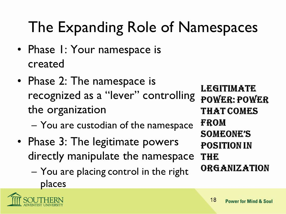 "The Expanding Role of Namespaces Phase 1: Your namespace is created Phase 2: The namespace is recognized as a ""lever"" controlling the organization –Yo"