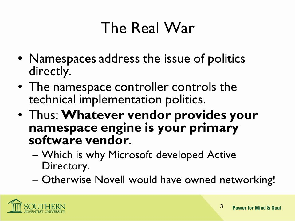The Real War Namespaces address the issue of politics directly. The namespace controller controls the technical implementation politics. Thus: Whateve