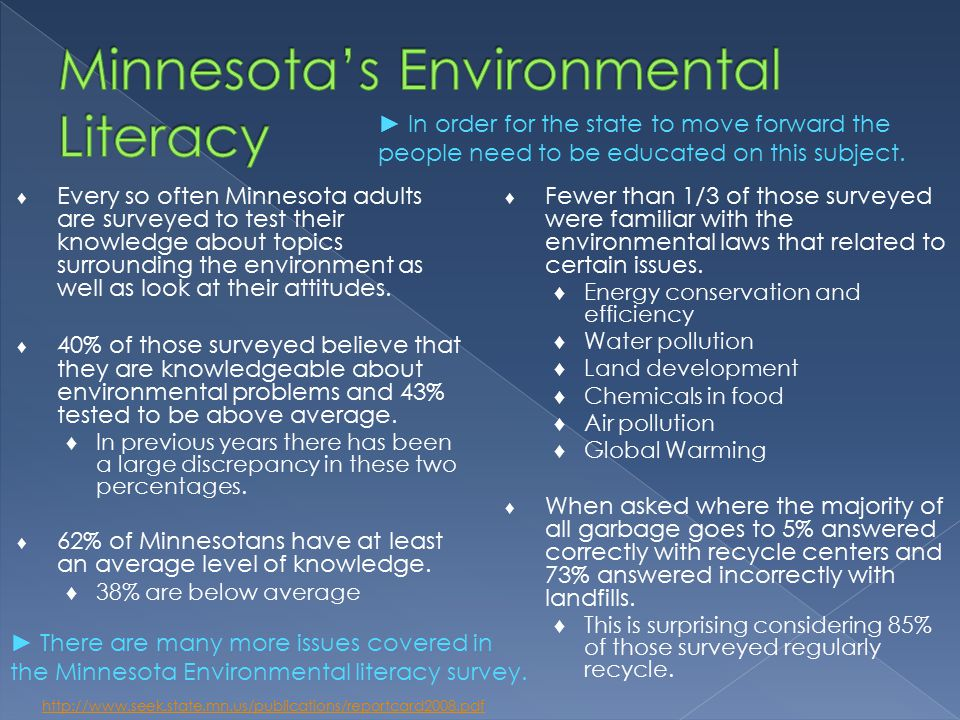 ♦ Every so often Minnesota adults are surveyed to test their knowledge about topics surrounding the environment as well as look at their attitudes.