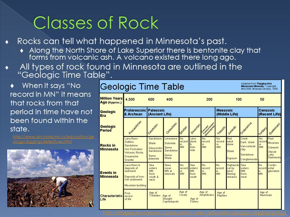 ♦ Rocks can tell what happened in Minnesota's past.