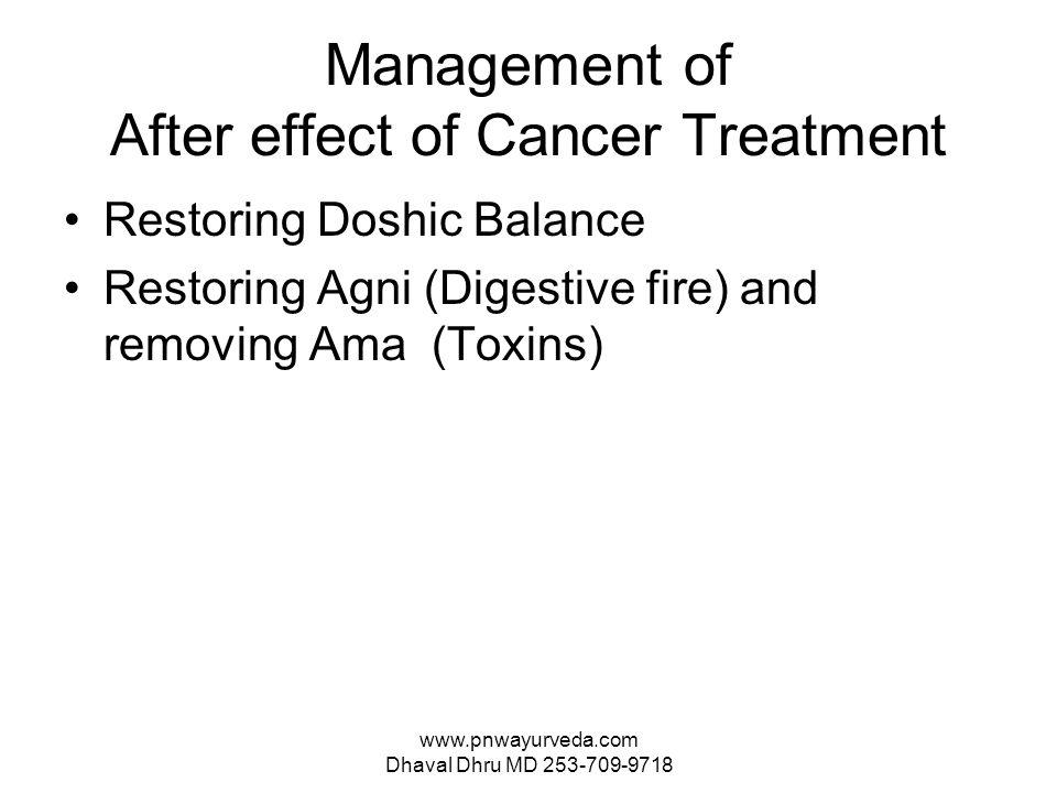 www.pnwayurveda.com Dhaval Dhru MD 253-709-9718 Management of After effect of Cancer Treatment Restoring Doshic Balance Restoring Agni (Digestive fire) and removing Ama (Toxins)