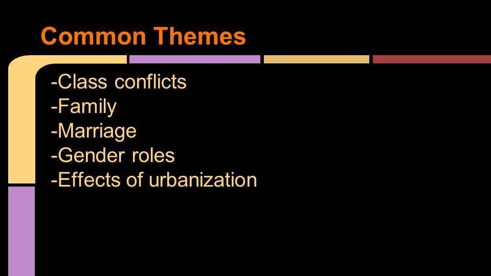 -Class conflicts -Family -Marriage -Gender roles -Effects of urbanization Common Themes