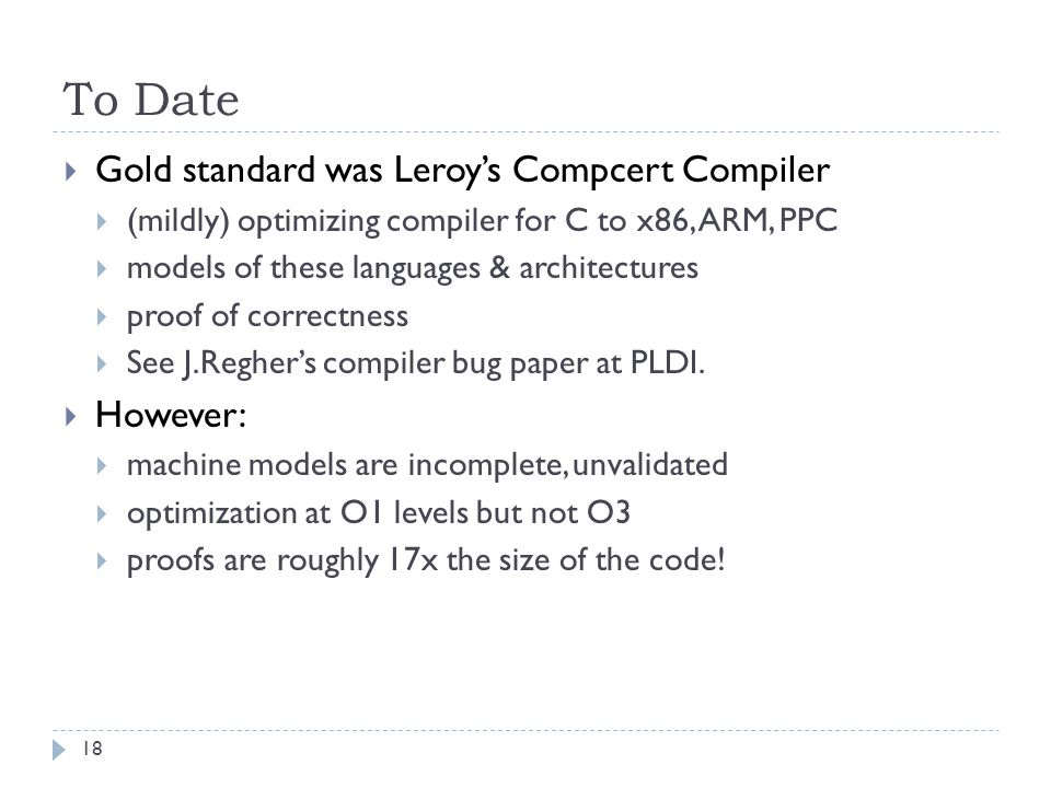 To Date  Gold standard was Leroy's Compcert Compiler  (mildly) optimizing compiler for C to x86, ARM, PPC  models of these languages & architectures  proof of correctness  See J.Regher's compiler bug paper at PLDI.