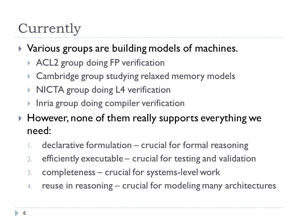 Thus far…  Focus: Formal methods for modeling real machines.
