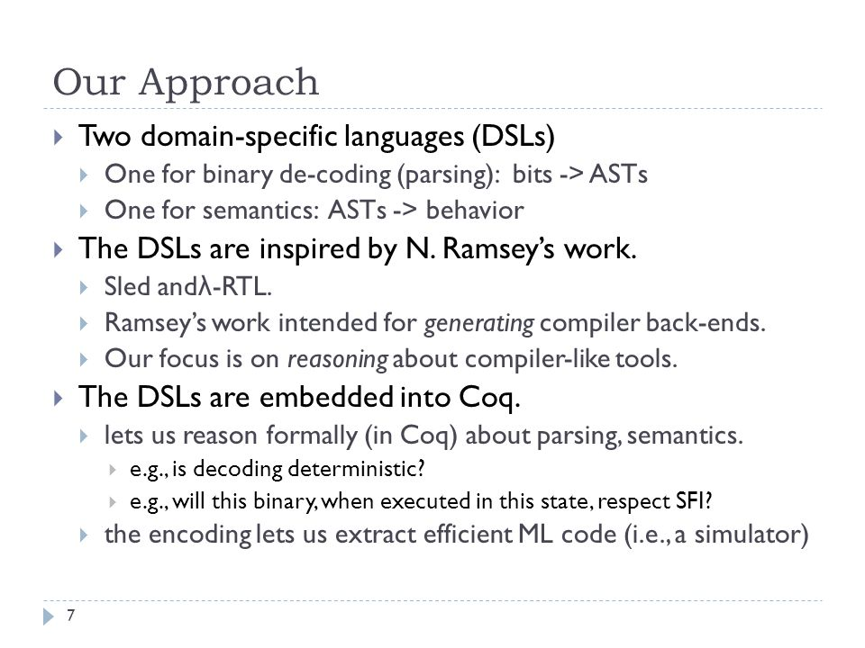 To Date  Gold standard was Leroy's Compcert Compiler  (mildly) optimizing compiler for C to x86, ARM, PPC  models of these languages & architectures  proof of correctness  See J.Regher's compiler bug paper at PLDI.