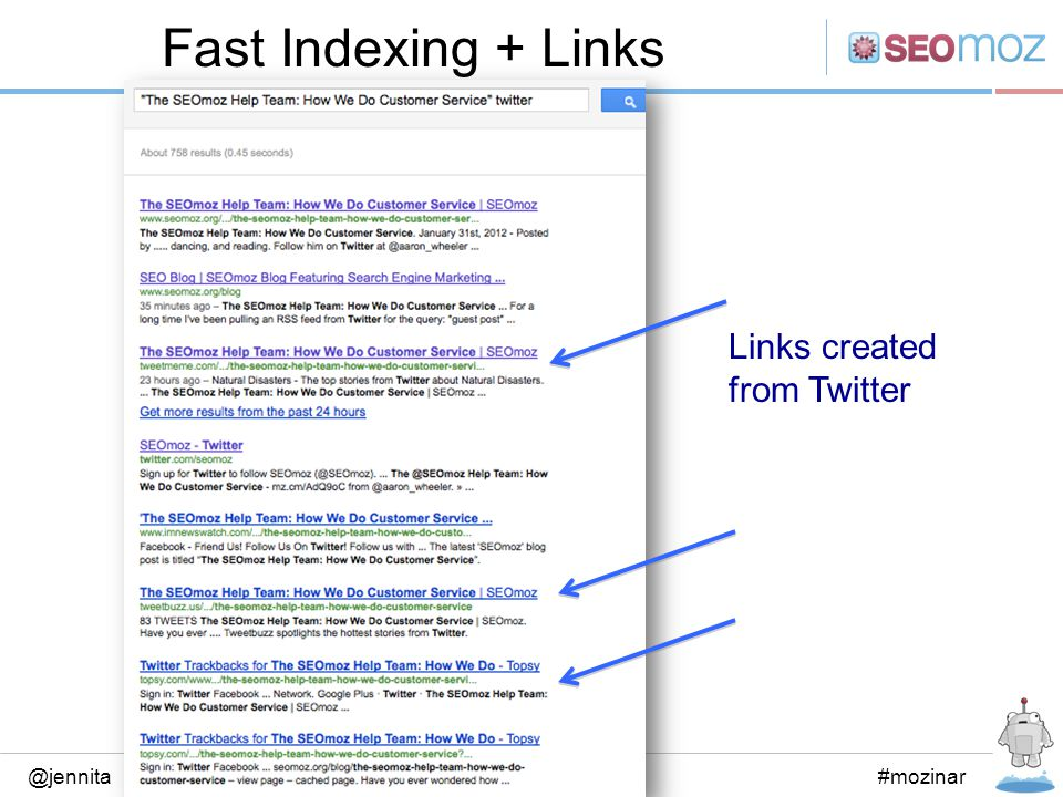 Fast Indexing + Links @jennita#mozinar Links created from Twitter