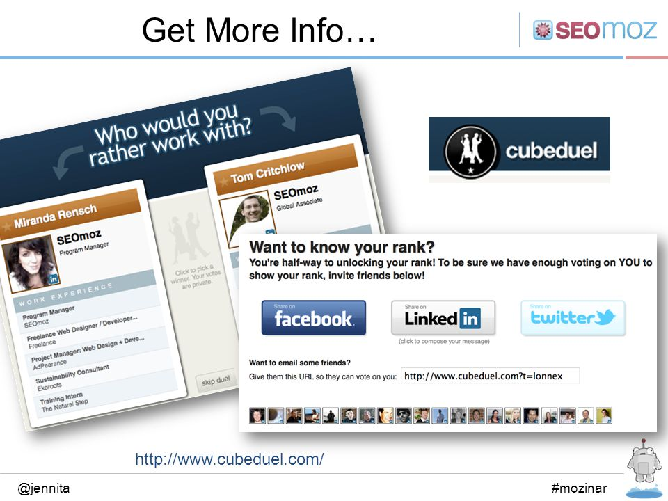 Get More Info… @jennita#mozinar http://www.cubeduel.com/