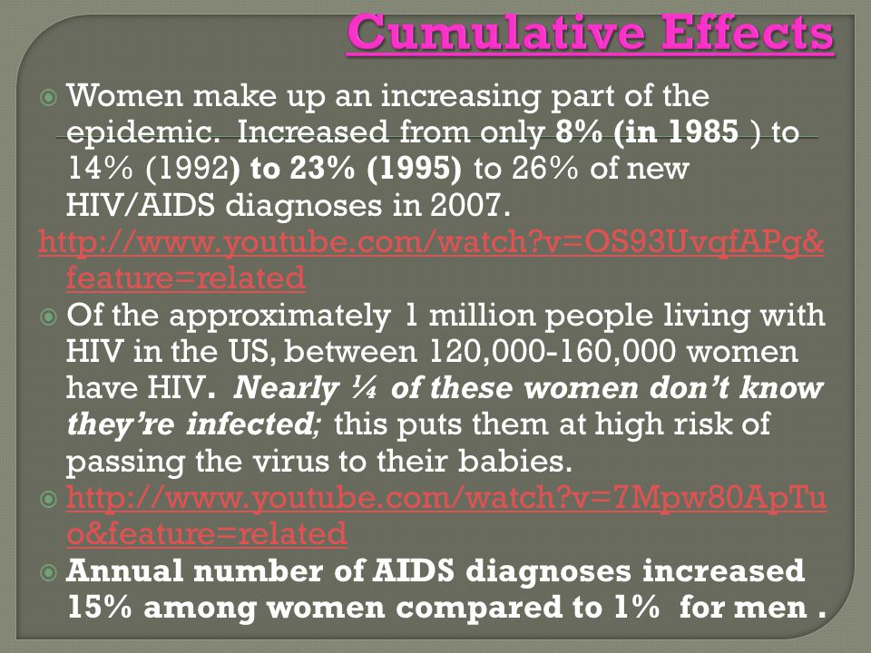  Women make up an increasing part of the epidemic. Increased from only 8% (in 1985 ) to 14% (1992) to 23% (1995) to 26% of new HIV/AIDS diagnoses in