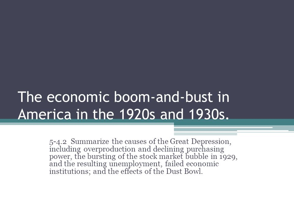 The economic boom-and-bust in America in the 1920s and 1930s.