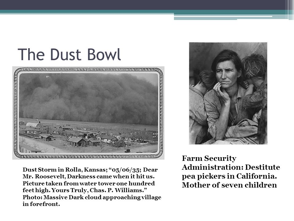 The Dust Bowl Farm Security Administration: Destitute pea pickers in California.