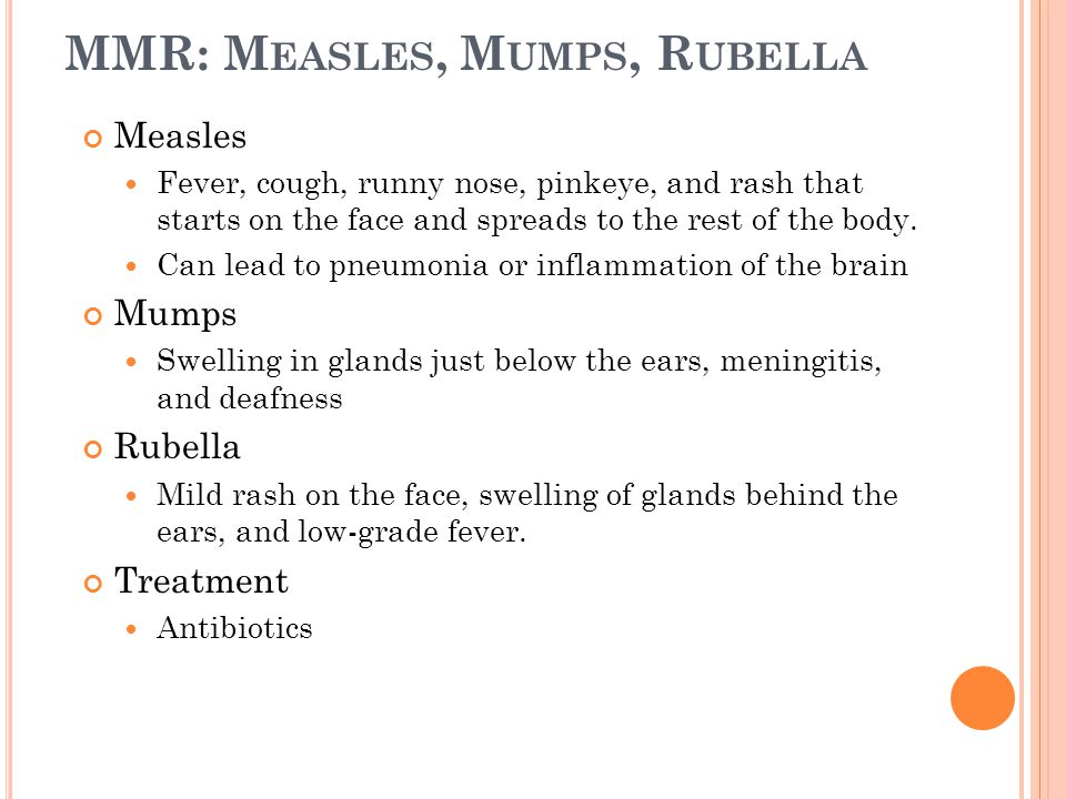 Measles Fever, cough, runny nose, pinkeye, and rash that starts on the face and spreads to the rest of the body.