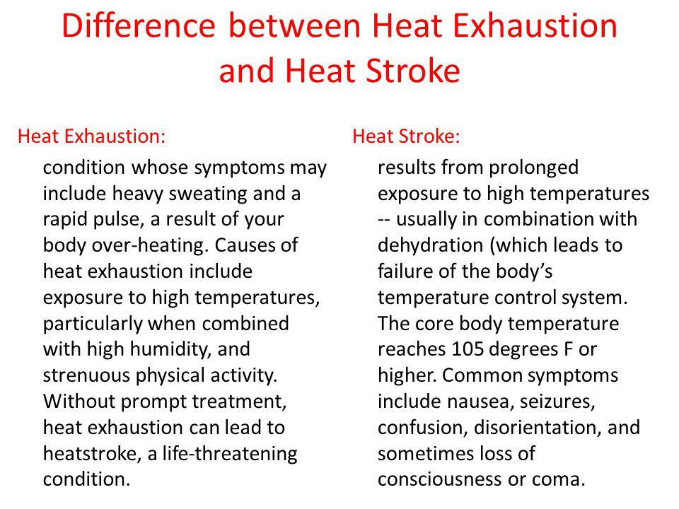 Difference between Heat Exhaustion and Heat Stroke Heat Exhaustion: condition whose symptoms may include heavy sweating and a rapid pulse, a result of