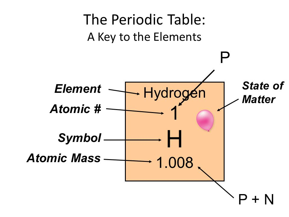 Hydrogen 1 H 1.008 The Periodic Table: A Key to the Elements Element Atomic # Symbol Atomic Mass State of Matter P P + N
