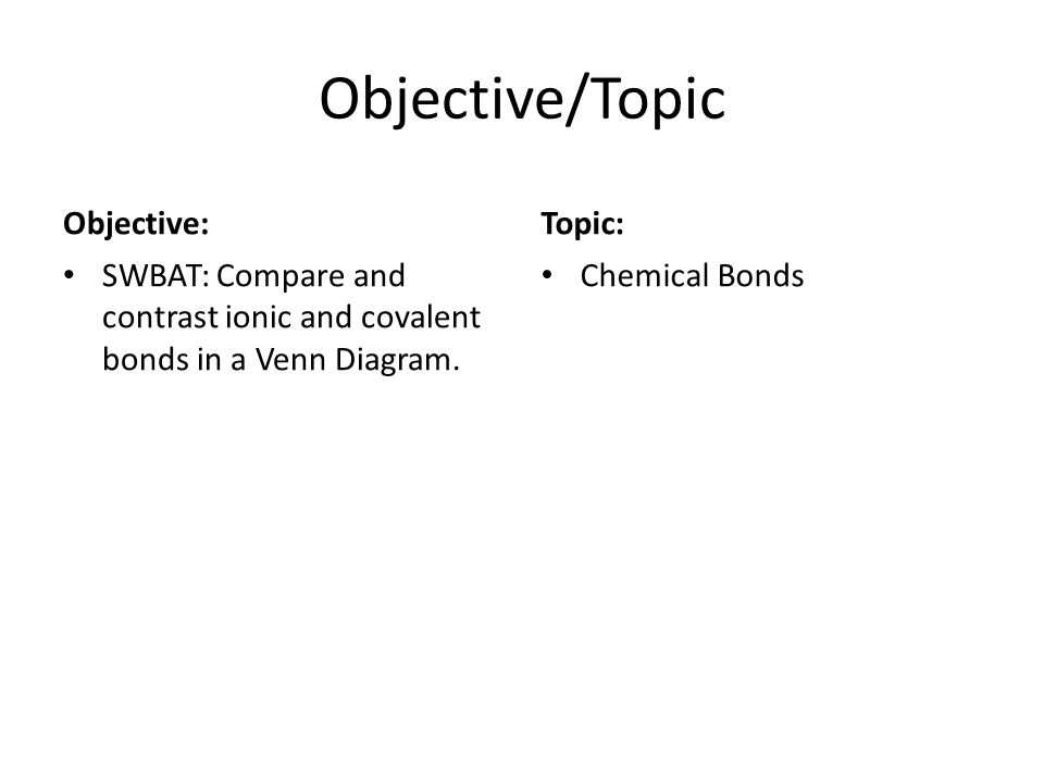 Objective/Topic Objective: SWBAT: Compare and contrast ionic and covalent bonds in a Venn Diagram. Topic: Chemical Bonds
