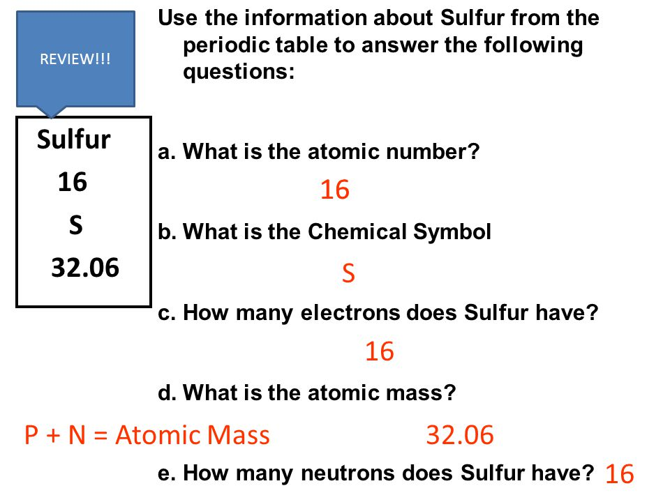 Sulfur 16 S 32.06 Use the information about Sulfur from the periodic table to answer the following questions: a.What is the atomic number? b.What is t