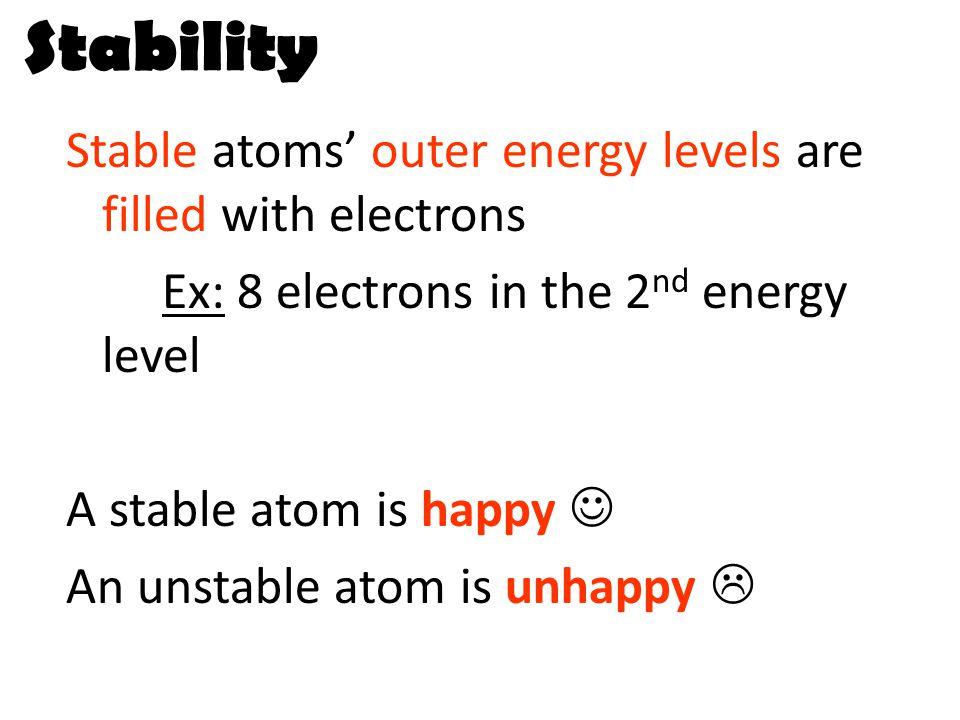Stability Stable atoms' outer energy levels are filled with electrons Ex: 8 electrons in the 2 nd energy level A stable atom is happy An unstable atom