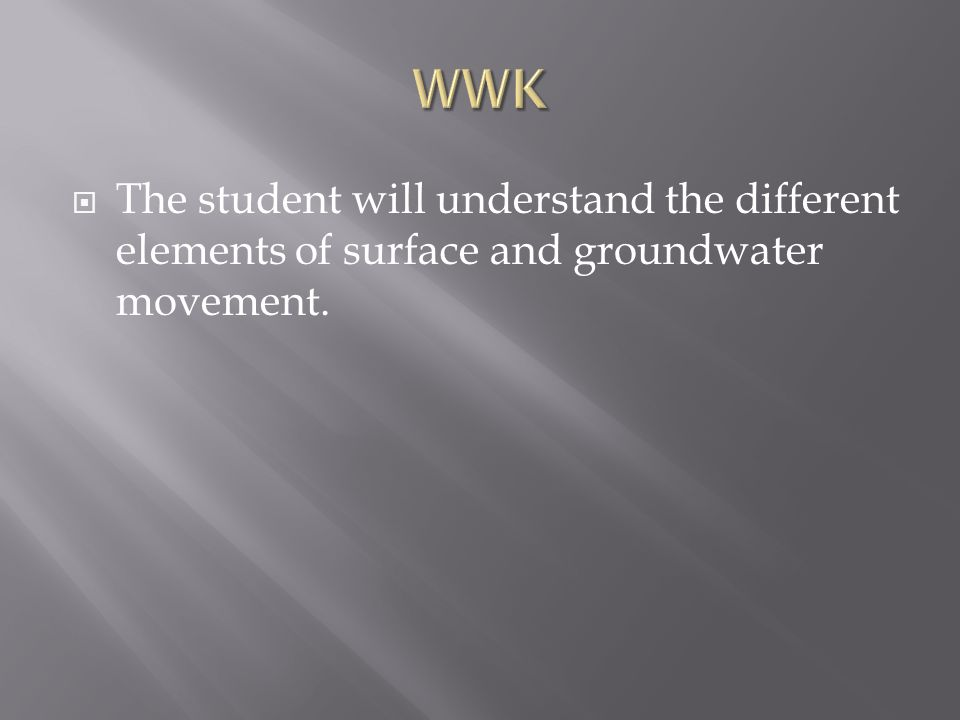  The student will understand the different elements of surface and groundwater movement.