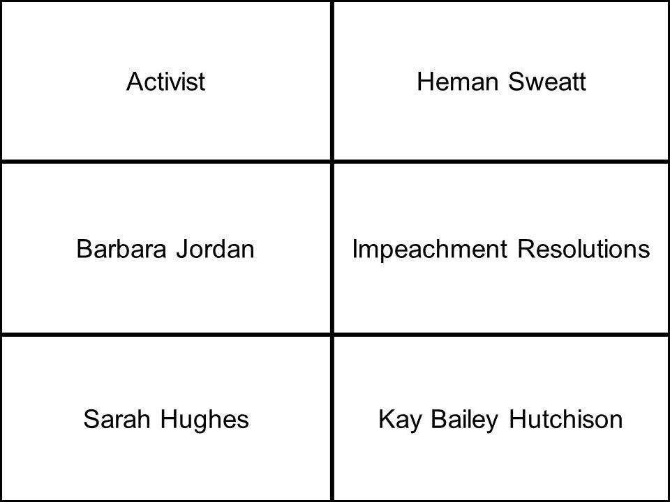 ActivistHeman Sweatt Barbara JordanImpeachment Resolutions Sarah HughesKay Bailey Hutchison