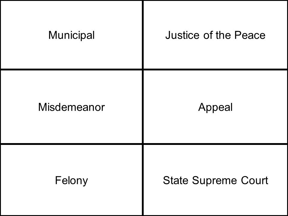 MunicipalJustice of the Peace MisdemeanorAppeal FelonyState Supreme Court