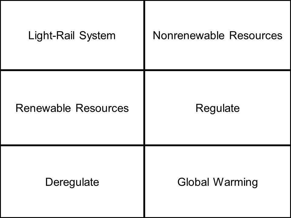 Light-Rail SystemNonrenewable Resources Renewable ResourcesRegulate DeregulateGlobal Warming