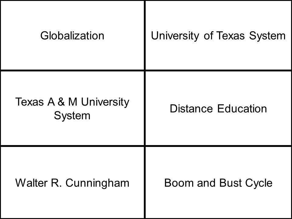 GlobalizationUniversity of Texas System Texas A & M University System Distance Education Walter R.