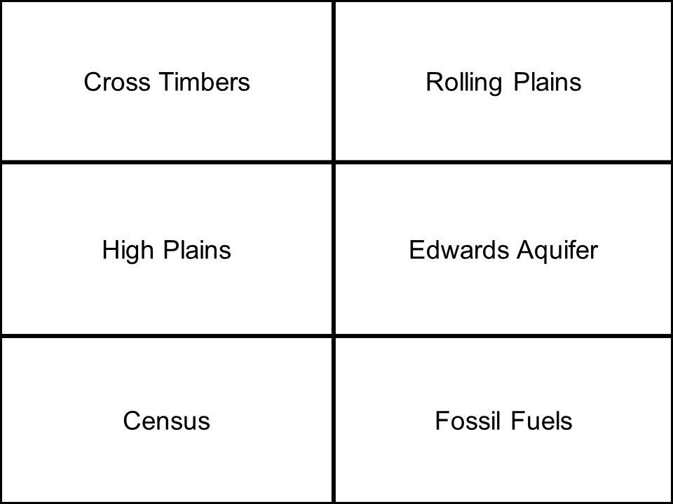 Cross TimbersRolling Plains High PlainsEdwards Aquifer CensusFossil Fuels