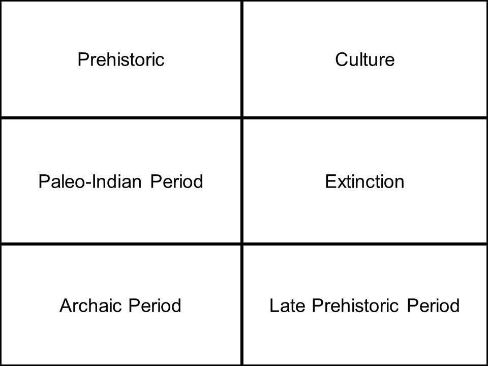 PrehistoricCulture Paleo-Indian PeriodExtinction Archaic PeriodLate Prehistoric Period