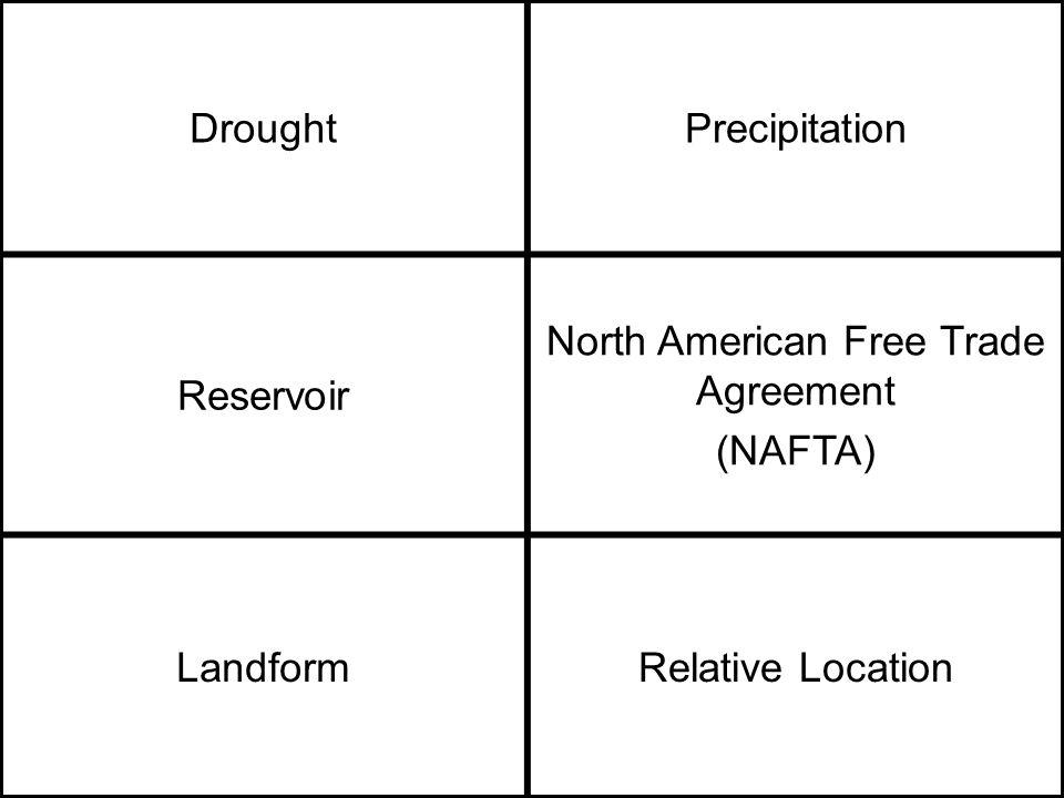 DroughtPrecipitation Reservoir North American Free Trade Agreement (NAFTA) LandformRelative Location