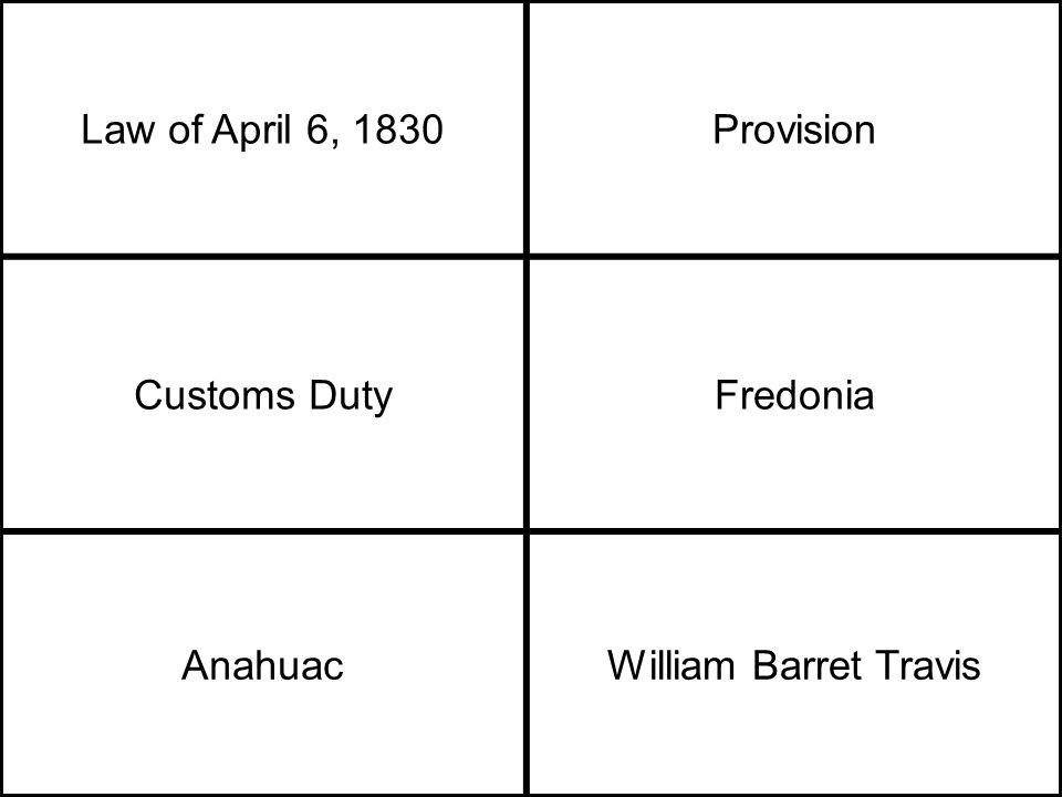 Law of April 6, 1830Provision Customs DutyFredonia AnahuacWilliam Barret Travis