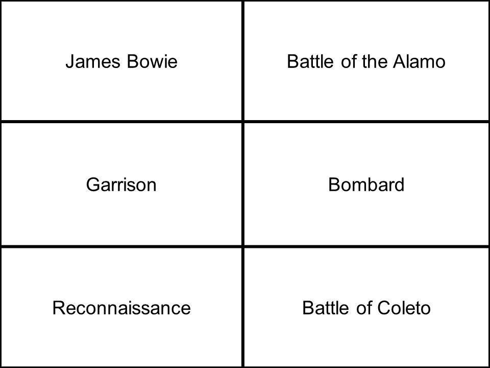 James BowieBattle of the Alamo GarrisonBombard ReconnaissanceBattle of Coleto