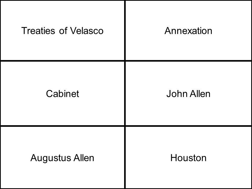 Treaties of VelascoAnnexation CabinetJohn Allen Augustus AllenHouston