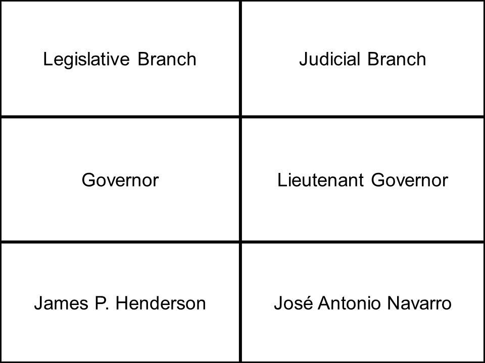 Legislative BranchJudicial Branch GovernorLieutenant Governor James P.