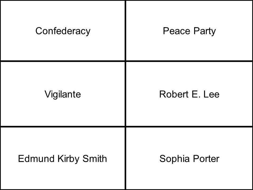 ConfederacyPeace Party VigilanteRobert E. Lee Edmund Kirby SmithSophia Porter