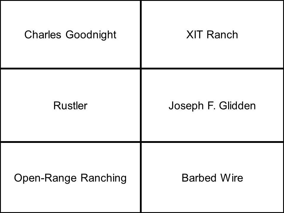 Charles GoodnightXIT Ranch RustlerJoseph F. Glidden Open-Range RanchingBarbed Wire