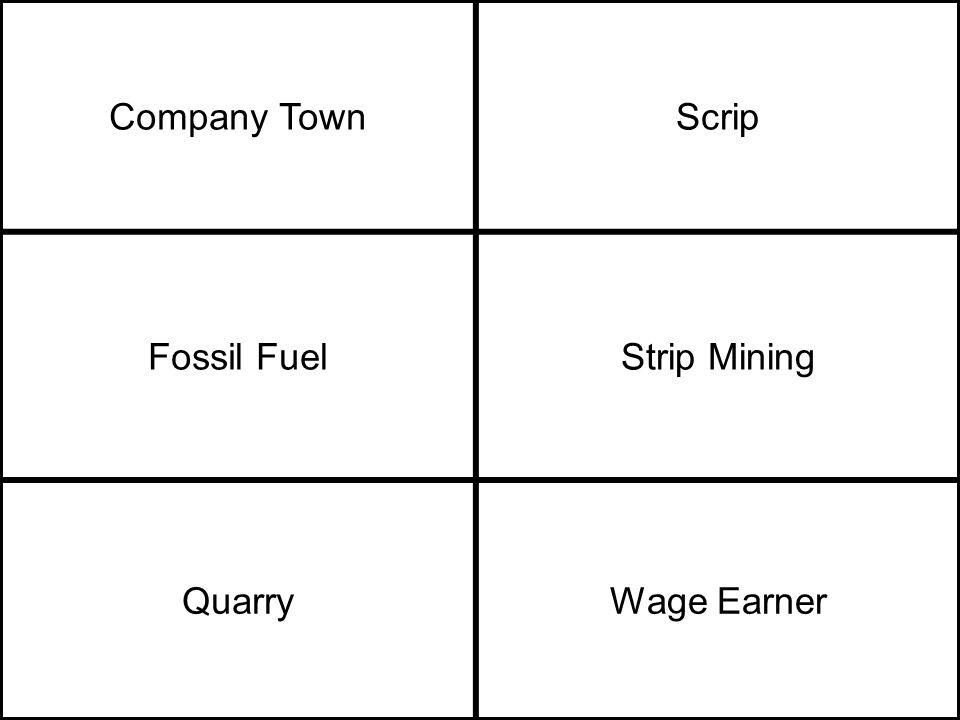 Company TownScrip Fossil FuelStrip Mining QuarryWage Earner