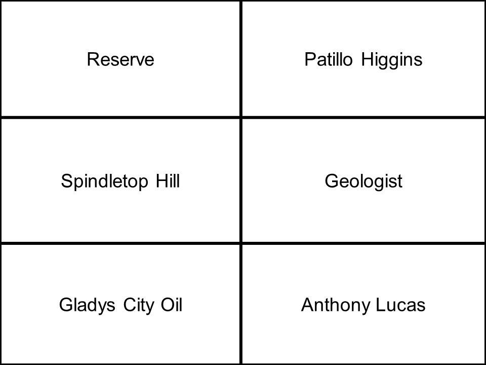 ReservePatillo Higgins Spindletop HillGeologist Gladys City OilAnthony Lucas