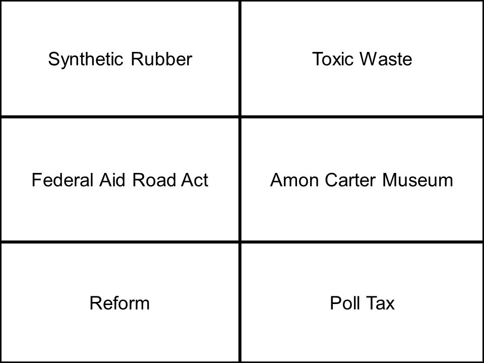 Synthetic RubberToxic Waste Federal Aid Road ActAmon Carter Museum ReformPoll Tax
