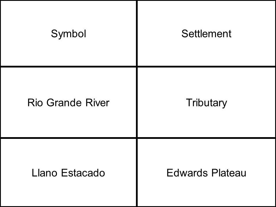 SymbolSettlement Rio Grande RiverTributary Llano EstacadoEdwards Plateau