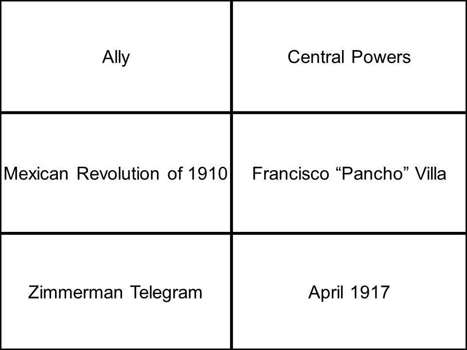 AllyCentral Powers Mexican Revolution of 1910Francisco Pancho Villa Zimmerman TelegramApril 1917