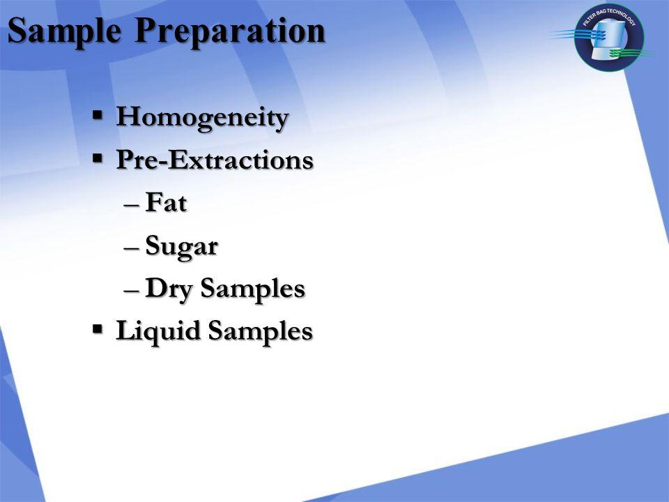 Sample Preparation  Homogeneity  Pre-Extractions –Fat –Sugar –Dry Samples  Liquid Samples