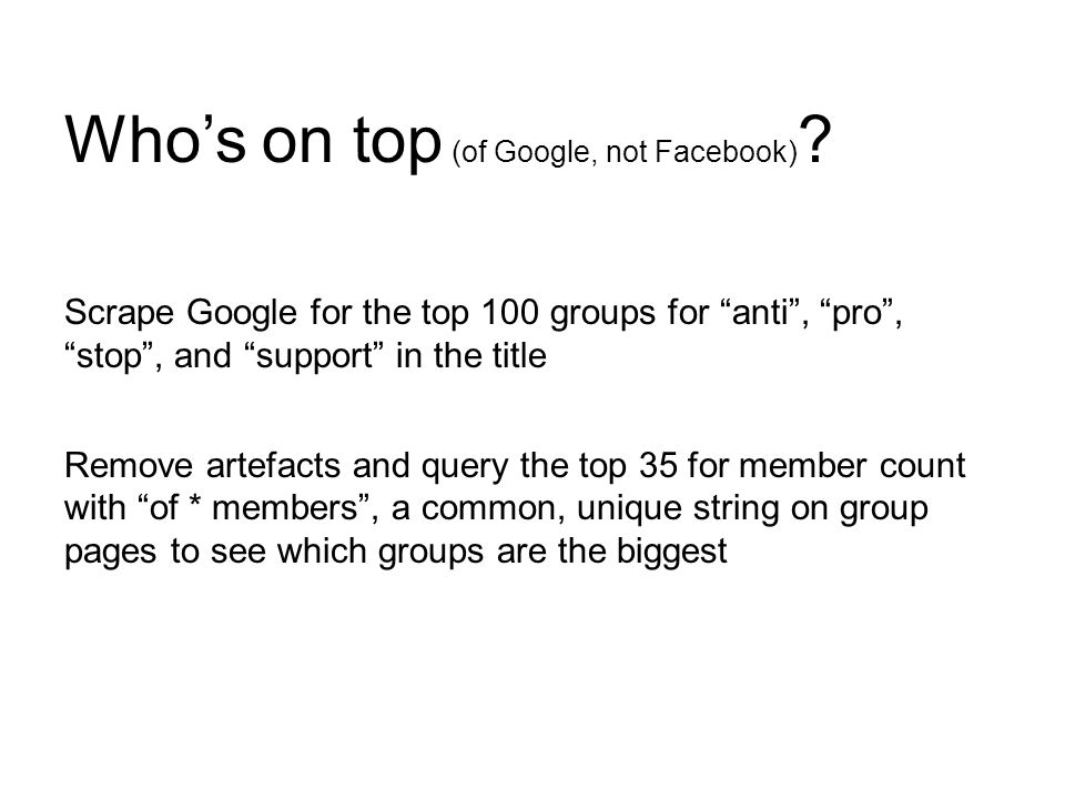 Scrape Google for the top 100 groups for anti , pro , stop , and support in the title Remove artefacts and query the top 35 for member count with of * members , a common, unique string on group pages to see which groups are the biggest Who's on top (of Google, not Facebook)