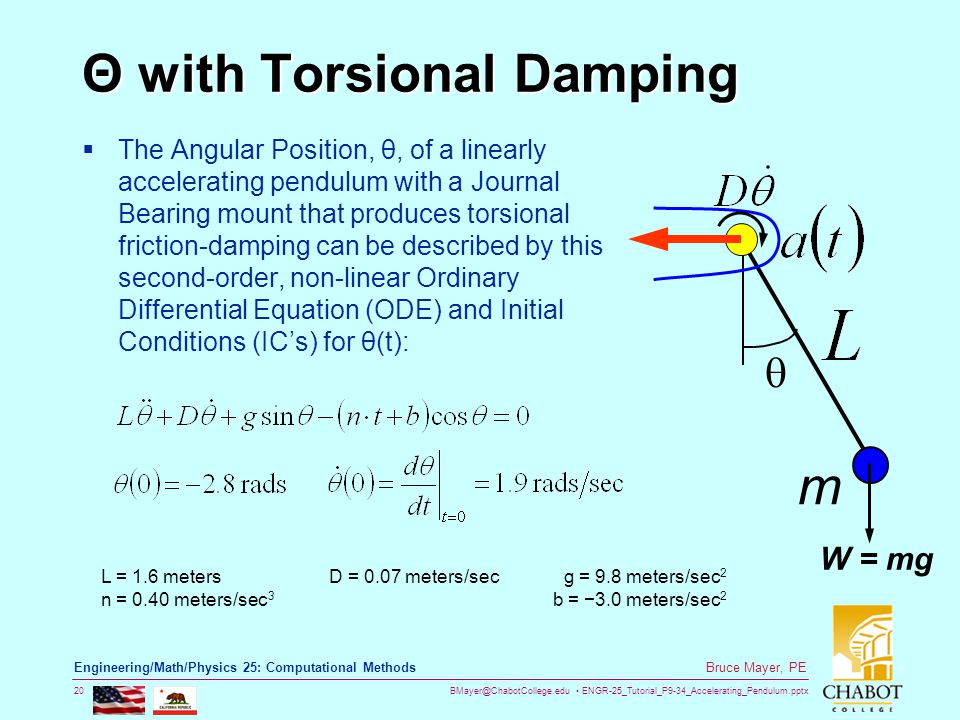 BMayer@ChabotCollege.edu ENGR-25_Tutorial_P9-34_Accelerating_Pendulum.pptx 20 Bruce Mayer, PE Engineering/Math/Physics 25: Computational Methods Θ with Torsional Damping  The Angular Position, θ, of a linearly accelerating pendulum with a Journal Bearing mount that produces torsional friction-damping can be described by this second-order, non-linear Ordinary Differential Equation (ODE) and Initial Conditions (IC's) for θ(t):  m W = mg L = 1.6 metersD = 0.07 meters/secg = 9.8 meters/sec 2 n = 0.40 meters/sec 3 b = −3.0 meters/sec 2